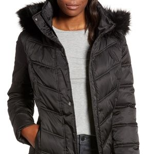 Kenneth Cole Women's Quilted Warm Coat L Black